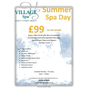 Summer Spa Day Only £99 for two!