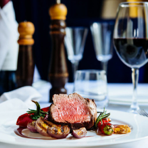Two steaks and a bottle of wine for £30 at The Overstone.
