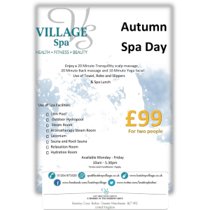 Autumn Spa Day Only £99 for two!