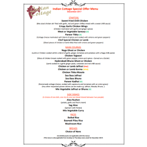 INDIAN COTTAGE SPECIAL OFFER MENU FOR DECEMBER