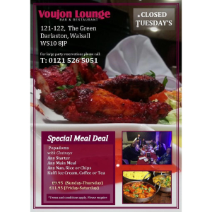 Special Meal Deal at Voujon Lounge - from only £9.95!