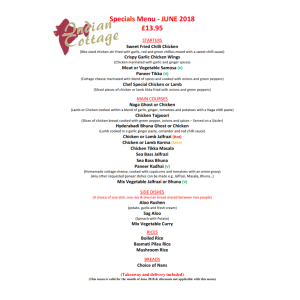 INDIAN COTTAGE SPECIAL OFFER MENU FOR JUNE