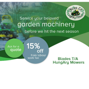 15% OFF Garden Machinery Servicing