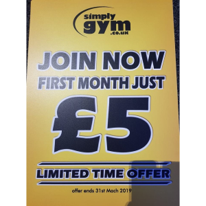 FIRST MONTH MEMBERSHIP £5 AT SIMPLY GYM WALSALL!