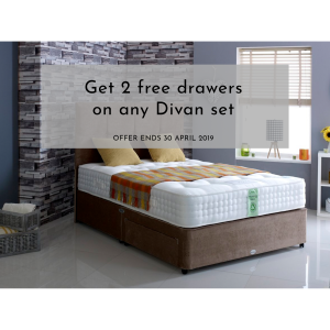 Get 2 FREE drawers on any Divan set