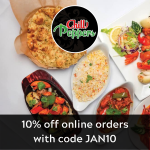 Get 10% off online orders over £18 at Chilli Peppers