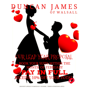 10% off on all Wedding Hire Parties of 3 or more during February at Duncan James Menswear!