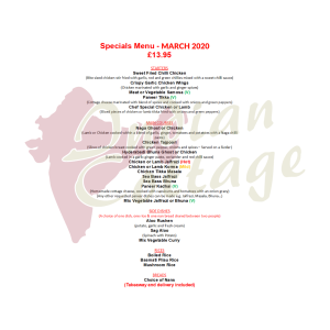 INDIAN COTTAGE SPECIAL OFFER MENU FOR MARCH
