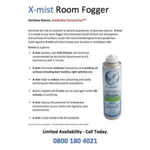 Eliminate Coronavirus with X-Mist for just £12.95 at Zero Dry Time Walsall