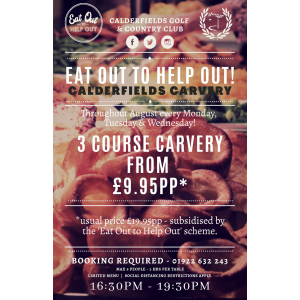 3 Course Carvery just £9.95pp at Calderfields Golf and Country Club
