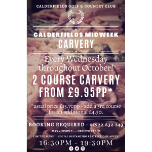 Midweek 2 Course Carvery just £9.95 at Calderfields Golf and Country Club
