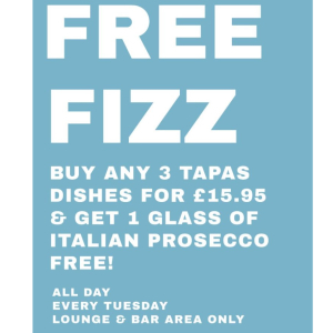 Tuesday's mean one thing – Tapas Tuesday at Olive and FREE fizz!