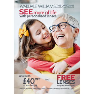 £40 off your 1st pair and free lenses with your second