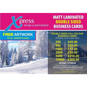 Matt Laminated Double Sided Business Cards available at Xpress Design & Print!