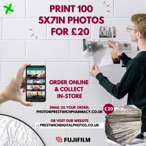100 7x5 prints for £20 with Prestwich Pharmacy