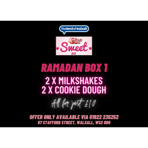2x Milkshakes & 2x Cookie Dough just £10 at Sweet Box Walsall!