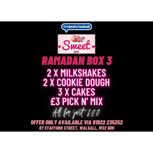 2x Milkshakes, 2x Cookie Dough, 3 Cakes & £3 Pic n' Mix just £20 at Sweet Box Walsall!
