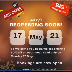 30% OFF at EVEREST LOUNGE on MONDAY17th MAY!