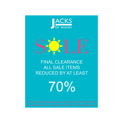 LIMITED TIME CLEARANCE SALE - now AT LEAST 70% Off INSTORE AT JACKS FOR WOMEN!