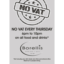 No VAT Thursdays on Food and Drink
