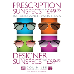 Prescription sunglasses from only £49.95 at Colin Lee Opticians