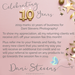 20% OFF SESSION FEE WITH DANI STEVENS PHOTOGRAPHY