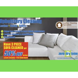 HALF PRICE CARPET CLEAN for your living room when you have your sofa cleaned at Zero Dry Time!