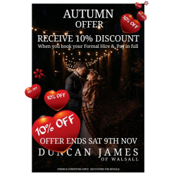 10% off Formal Hire Wedding Suits at Duncan James Menswear