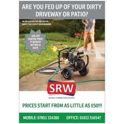 50% off Patio and Driveway Cleaning at SRW Heating Plumbing and Gas Services