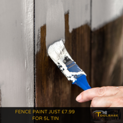 Fence Paint just £7.99 for 5L tin with home delivery available at Toolbase